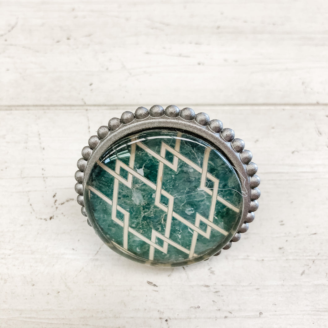 Metal & Glass Knob Ivory over Green pattern