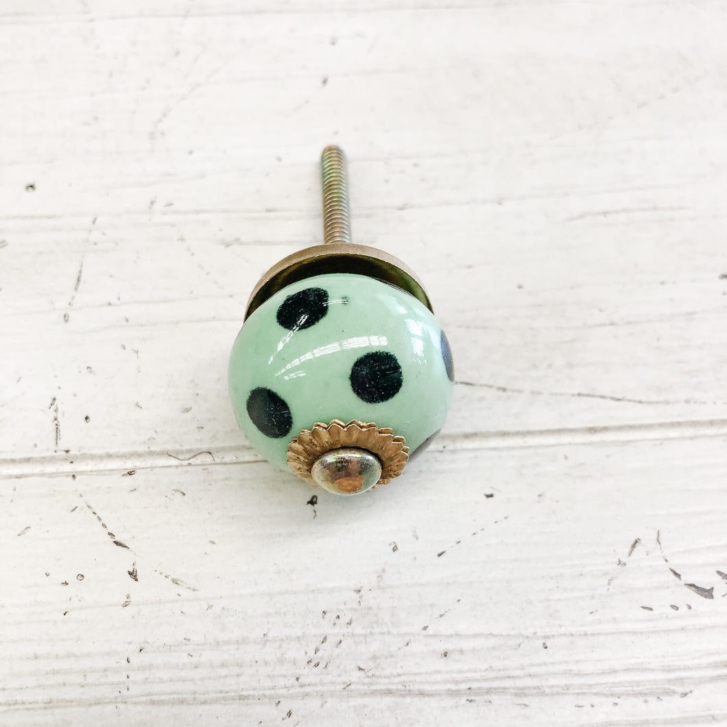 Ceramic Knob—Green/Black Polkadot