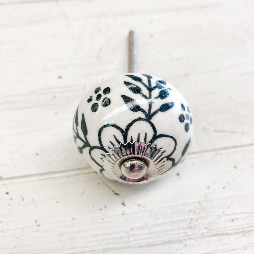 Ceramic Knob Black Floral Pattern over gloss White