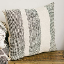 Load image into Gallery viewer, Woven Pillow Black over Natural Stripe