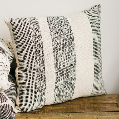 Woven Pillow Black over Natural Stripe