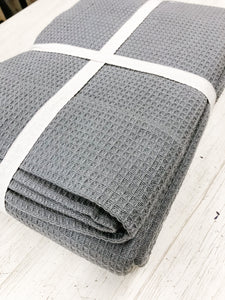 Charcoal Waffle Blanket—Queen Size