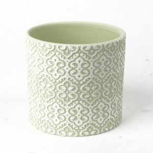 Clay Pot White over Green