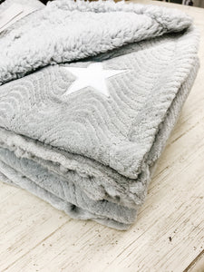 Fleece Baby Blanket--Grey