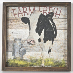 Wooden Frame Farm Fresh Cow