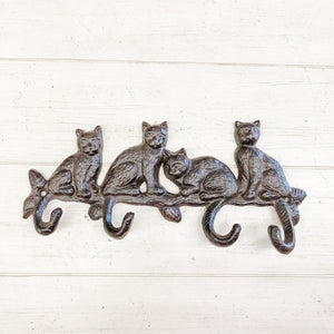 Cast Iron Kitty Cat Hooks--Rustic Brown