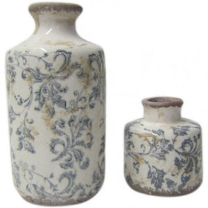 Set of 2 Bud Vases Blue over Aged White