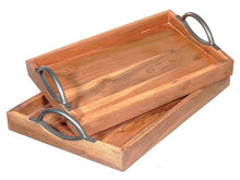 Load image into Gallery viewer, Wooden Trays with Cast Iron Handles