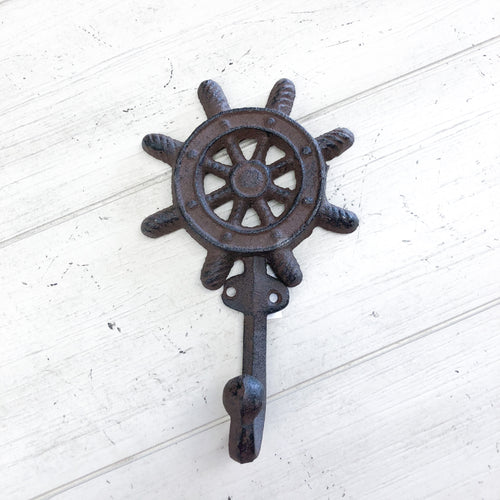 Cast Iron Ship Wheel Hook--Rustic Brown