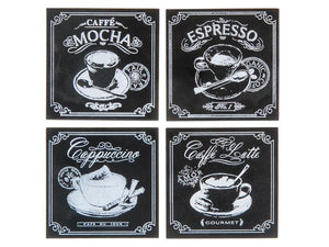 Wooden Coaster--Chalkboard Coffee set of 4
