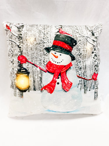 LED Snowman Throw Pillow