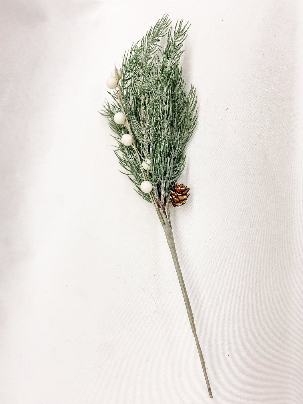 Pine Pick with white berries and pine cones