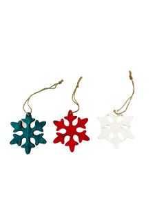 Multi-coloured Wooden Snowflake Ornaments