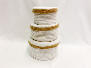 White and Beige Knit Storage with Lid - Set of Three