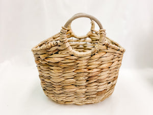 Wicker Basket with Wooden Handles