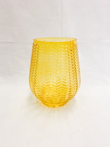 Tinted Glass Vase with Chevron Design