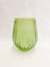 Load image into Gallery viewer, Tinted Glass Vase with Chevron Design