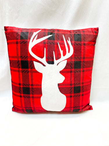 Buffalo Plaid Deer Silhouette Throw Pillow