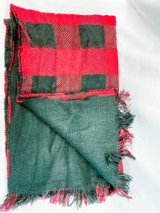 Red Buffalo Plaid Blanket Scarf with Pockets