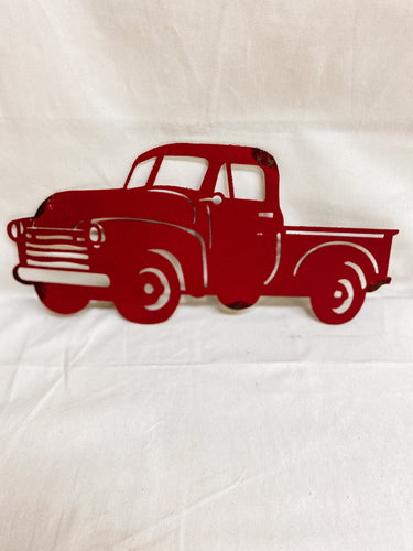 Red Truck Metal Sign
