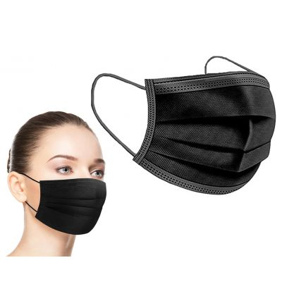 Ultra High Quality Black 3 Ply Face Mask - 20 pack