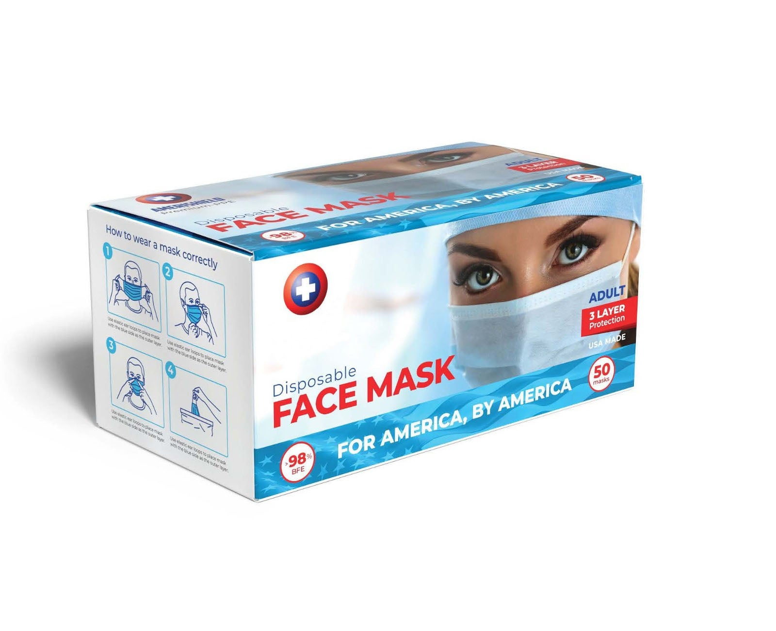 American Made Face Masks (Box of 50) - Made in the USA 🇺🇸