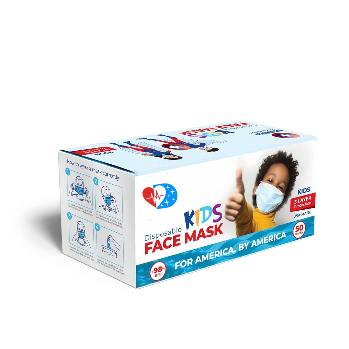 Kids American Made Face Masks (Box of 50) - Made in the USA 🇺🇸