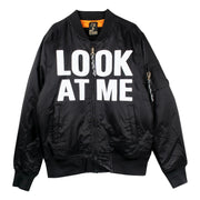 "Bomber Jacket ""Look at Me"" - black (front)"