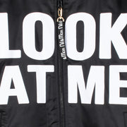 "Bomber Jacket ""Look at Me"" - black (front, detail application)"