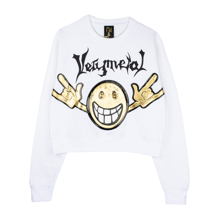 "Crop Sweat ""Very Metal"" - white"