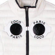 "Down Jacket ""Coco"" - white (front, detail application)"