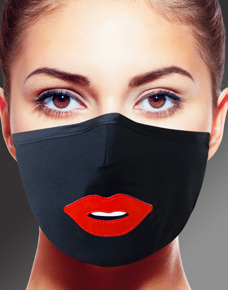 "Face Mask ""Kiss"" - black"