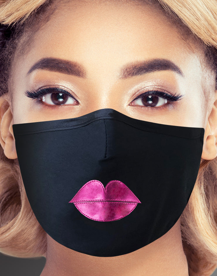 "Face Mask ""Pink Lips"" - black"