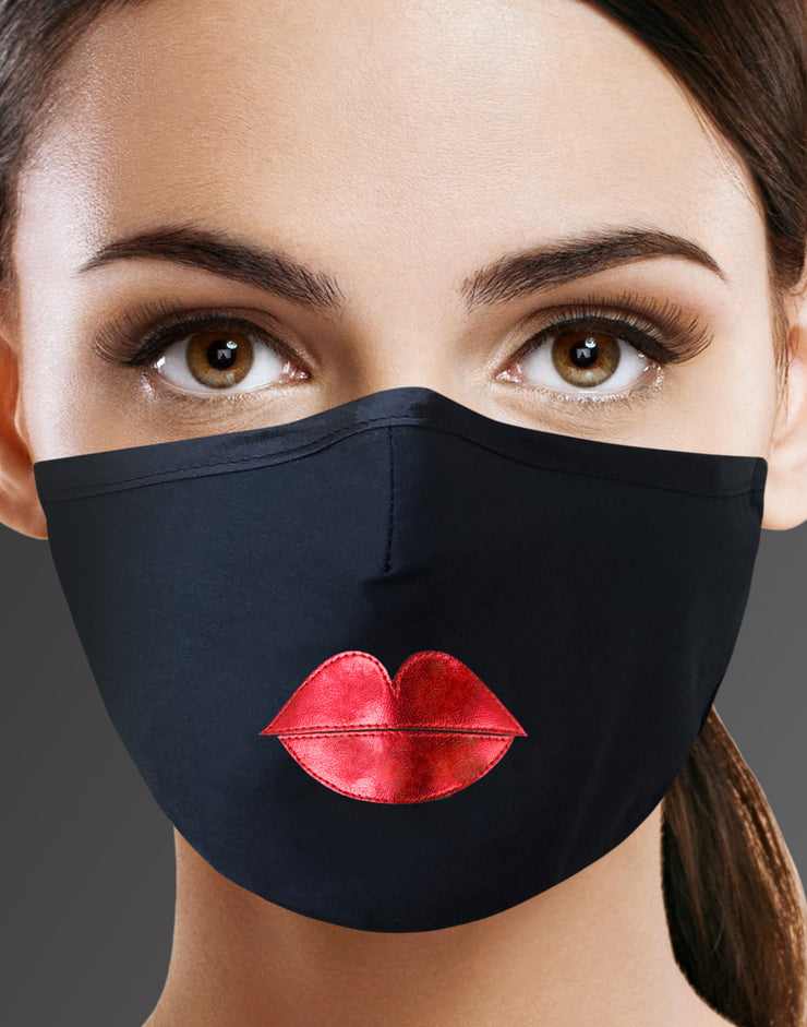 "Face Mask ""Red Lips"" - black"