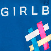 "Hoodie ""Girlboss"" - blue (detail application)"