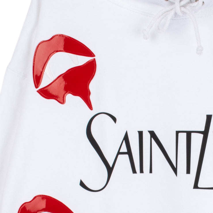 "Hoodie ""Saint Liar"" - white (detail application)"