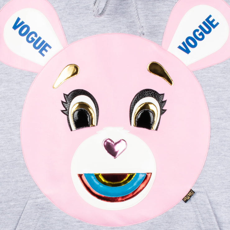 "Hoodie ""Vogue Bear"" - grey melange (detail application)"