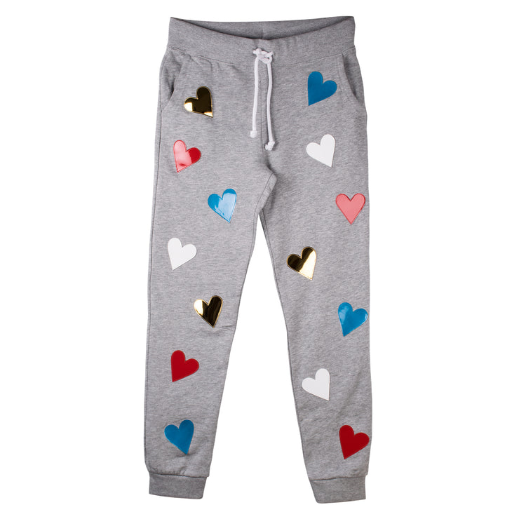 "Jogging Pants ""Hearts"" - grey melange"