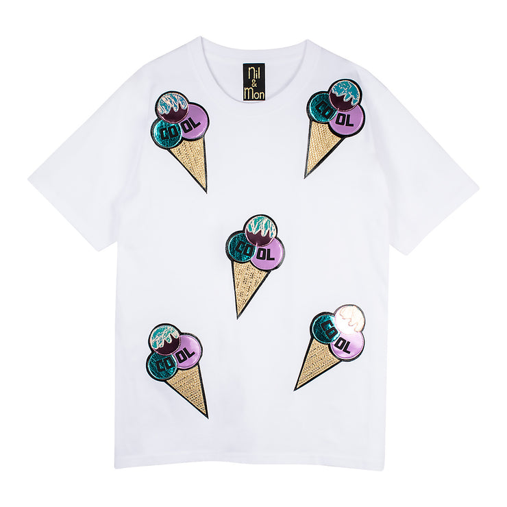 "Oversize Tee ""Cool Ice"" - white"
