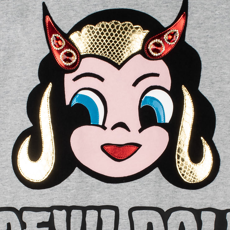 "Oversize Tee ""Devil Doll"" - grey melange (detail application)"