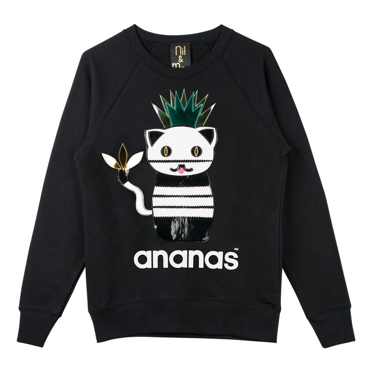 "Sweatshirt ""Ananas"" - black"