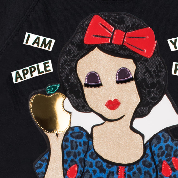 "Sweatshirt ""Apple"" - black (detail application)"