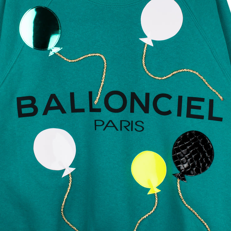 "Sweatshirt ""Ballonciel"" - emerald (detail application)"