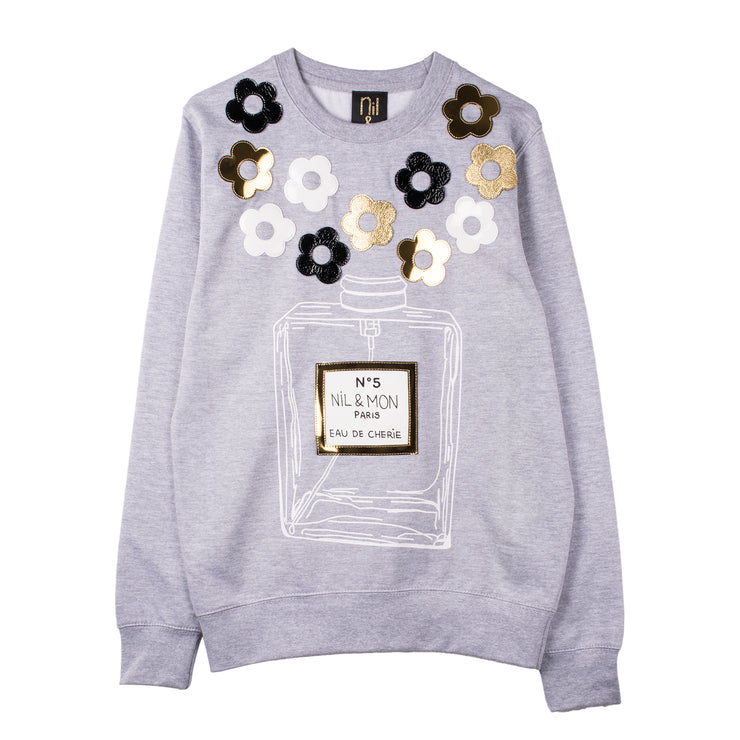 "Sweatshirt ""Black Roses"" - grey melange"