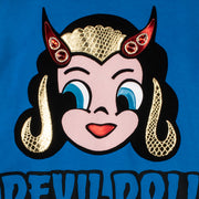 "Sweatshirt ""Devil Doll"" - blue (detail application)"