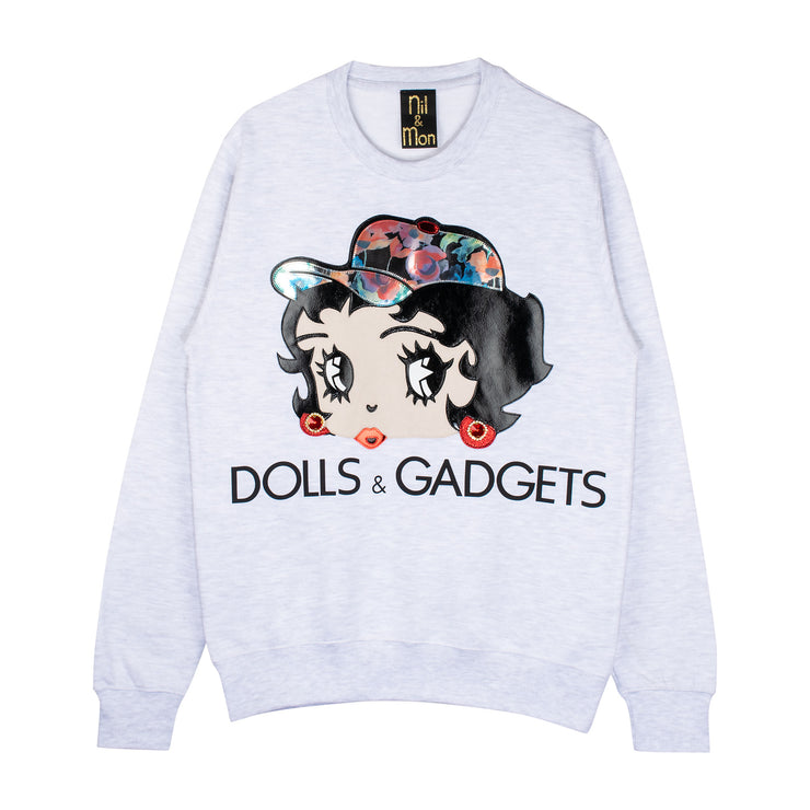 "Sweatshirt ""Dolls & Gadgets"" - light grey"