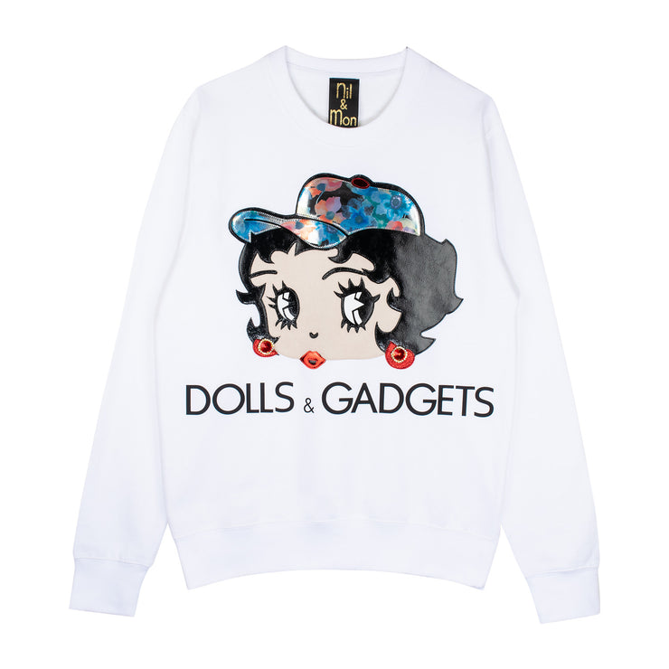 "Sweatshirt ""Dolls & Gadgets"" - white"