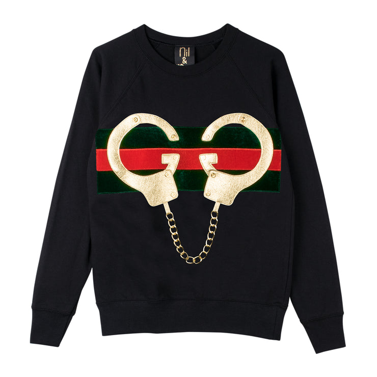 "Sweatshirt ""Golden Handcuffs"" - black"
