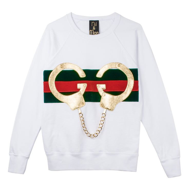 "Sweatshirt ""Golden Handcuffs"" - white"