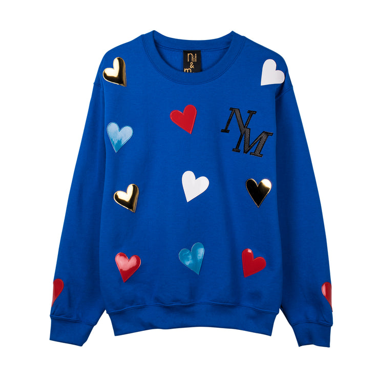 "Sweatshirt ""Hearts"" - royal blue"